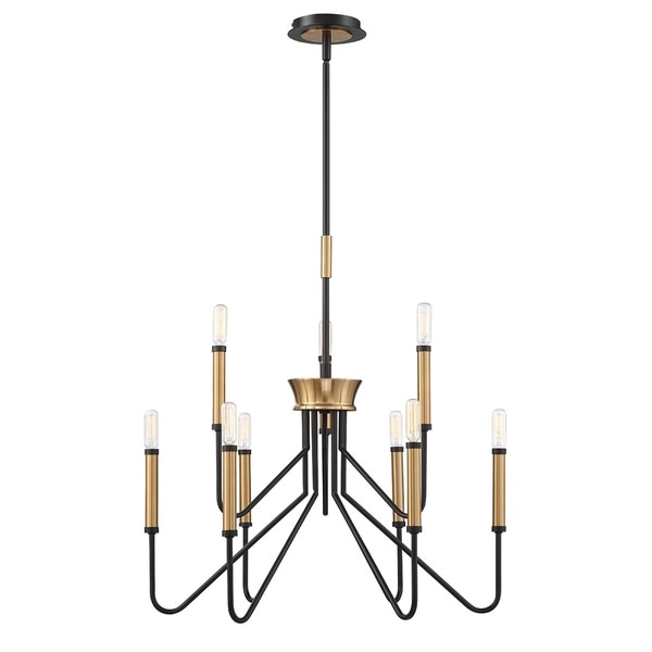 "Eurofase Rado Duo-Tone 9-Light Two-Tier Chandelier - 34071-014 - 17.75"" high x 24.75"" in diameter"