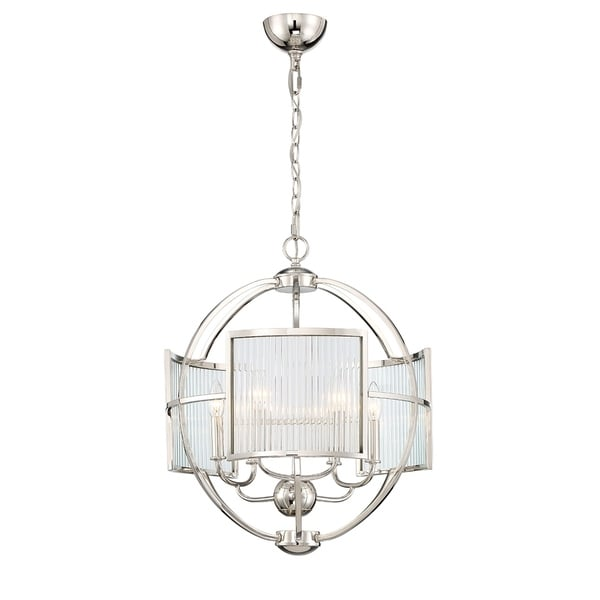Eurofase Manilow Orb 6-Light Chandelier in Polished Nickel - 33849-010