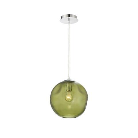 "Eurofase Della Large Round Glass Pendant in Green - 34036-037 - 11"" high x 10.25"" in diameter - 11"" high x 10.25"" in diameter"