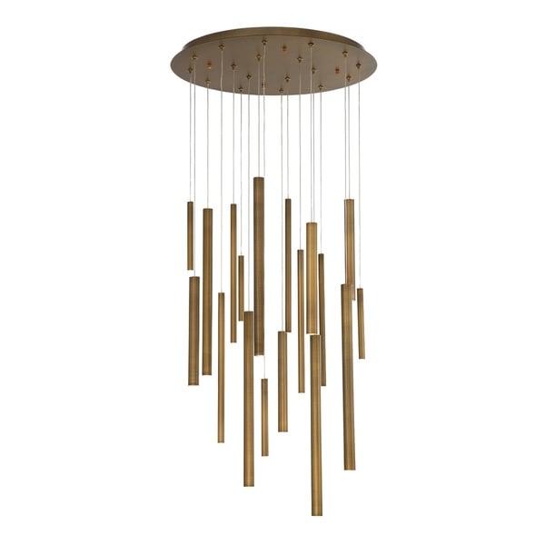 Eurofase Santana Clustered Tubes 18 LED Chandelier in Antique Brass Finish - 31445-038