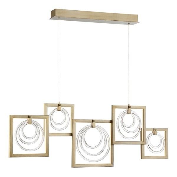 Eurofase Corinna Metal/Glass Rings 5-light LED Linear Chandelier