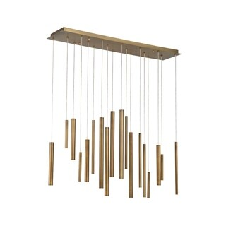 Eurofase Santana Clustered Tubes 18 LED Linear Chandelier in Antique Brass Finish - 31446-035