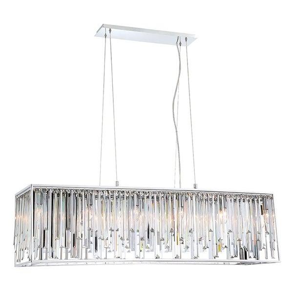 "Eurofase Genova Sleek Crystal 12-Light Double Rectangle Chandelier - 34079-010 - 17.50"" high x 48"" wide x 13"" long"