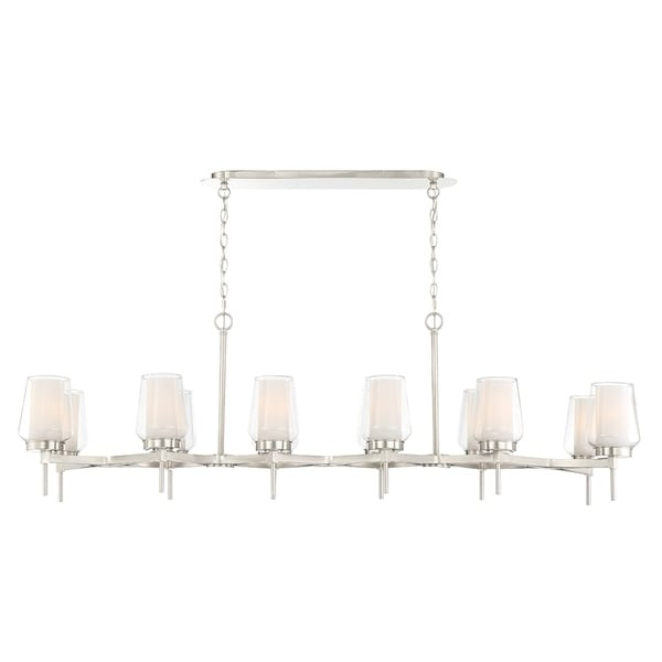 Eurofase Manchester Customizable 12-Light Linear Chandelier in Nickel - 34096-024