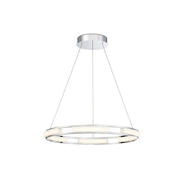 Eurofase Fanton Silvertone Metal and Frosted Acrylic LED Small Ring Chandelier