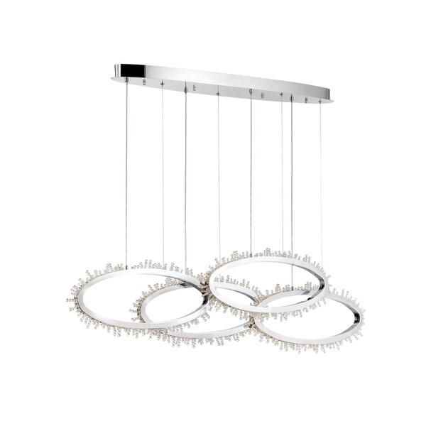 Eurofase Scoppia Chrome Metal Crystal 4-ring LED Linear Chandelier