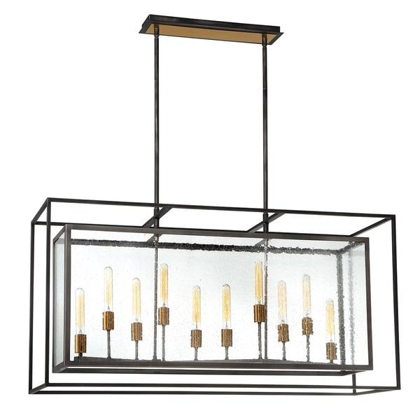 Eurofase Affilato Black Metal/Seeded Glass 10-light Chandelier