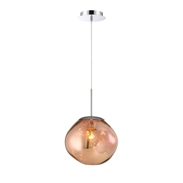 """Eurofase Bankwell Pearlized Orb Light Pendant in Copper - 34287-019 - 12.50"""" high x 10.50"""" in diameter"""