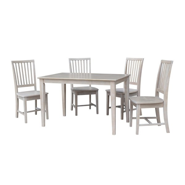 "Solid Wood 30"" x 48"" Dining Table and 4 Mission Chairs in Washed Gray Taupe"