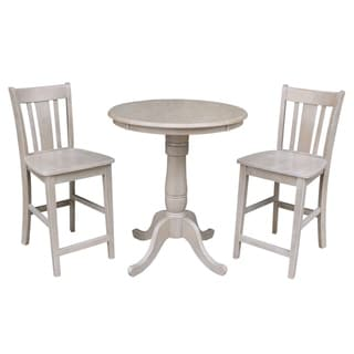 Solid Wood Round Pedestal Counter Height Table and 2 San Remo Stools in Washed Gray Taupe