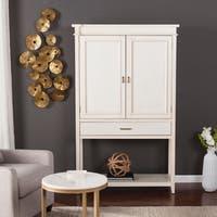 The Gray Barn Oriaga Antique White Fold-Out Bar Cabinet