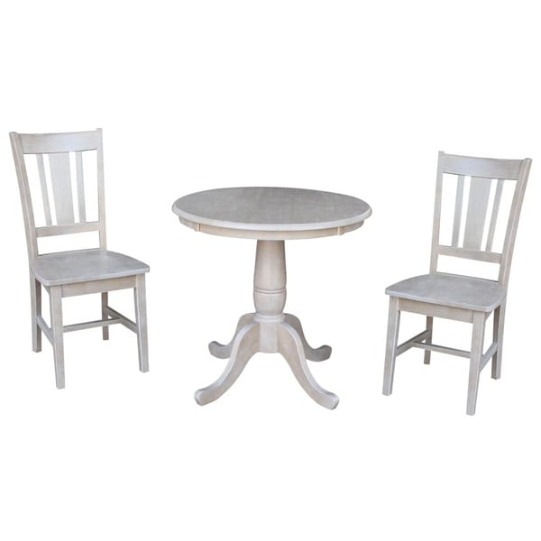 Solid Wood Round Pedestal Dining Table And 2 San Remo Chairs In Washed Gray  Taupe