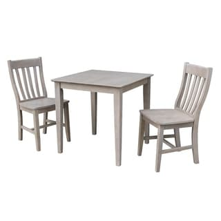 Solid Wood Dining Table and 2 Cafe Chairs in Washed Gray Taupe