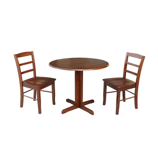 36 Inch Dining Room Table: Shop 36 Inch Dual Drop Leaf Dining Table With Two X-back