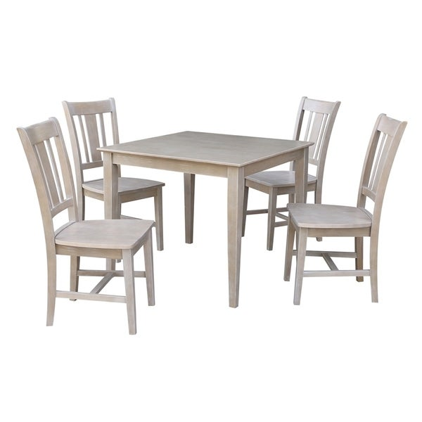 """Free Kitchen Solid Oak Dining Room Sets Renovation With: Shop Solid Wood 36"""" X 36"""" Dining Table And 4 San Remo Side"""