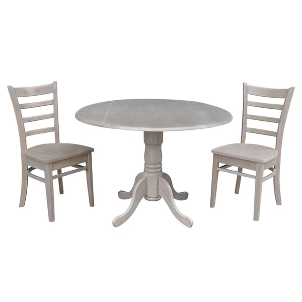 shop 42 inch dual drop leaf dining table with two emily side chairs in washed gray taupe set. Black Bedroom Furniture Sets. Home Design Ideas