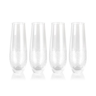 """Villa"" 6.25"" Tall Stemless Champagne Flutes (Set of 4)"