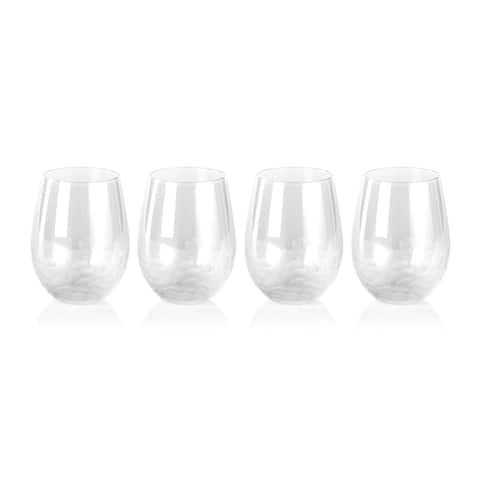 """""""Villa"""" 5"""" Tall Stemless Red Wine Glasses (Set of 4)"""
