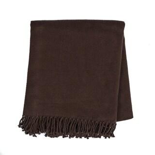 Evora Solid Color Fringe Blanket Throw