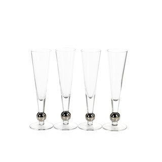 """Tivoli"" 9"" Tall Champagne Flutes with Platinum Ball (Set of 4)"