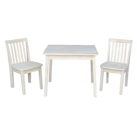 Kids Table with Two Mission Juvenile Chairs - Unfinished Three Piece Set
