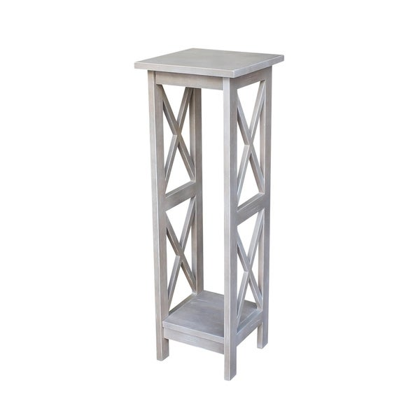 Solid Wood X-sided Plant Stand in Washed Gray Taupe