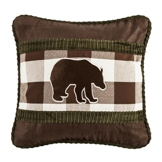 HiEnd Accents Embroidered Bear Pillow, 18x18
