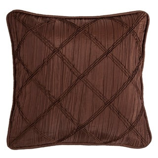 HiEnd Accents Diamond Batiste Pillow with Rouching Details, 18x18