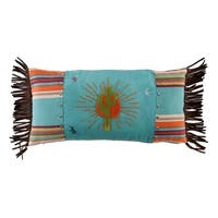 HiEnd Accents Sunburst Pillow with Embroidery Details, 24x12