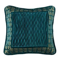 """HiEnd Accents Teal Velvet Deco Pillow with Gold Frame Details, 18""""x18"""""""