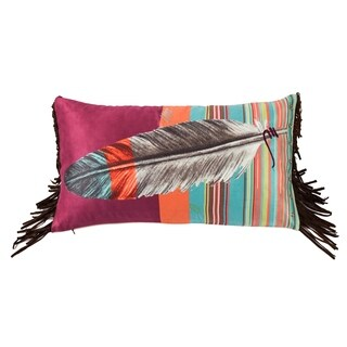 HiEnd Accents Feather Pillow with Embroidery Details, 24x12