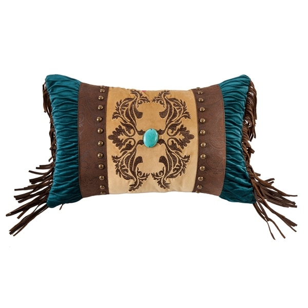 HiEnd Accents Faux Leather Deco pillow with jeweled detials , 12x19