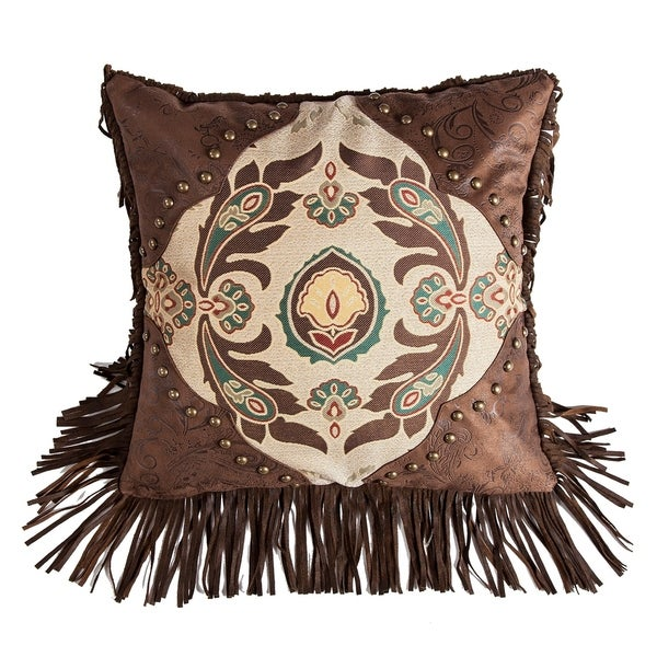 """HiEnd Accents Western Style Pillow with Concho Detail, 17""""x17"""""""