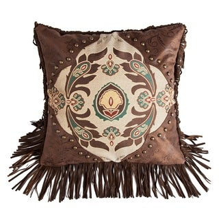"HiEnd Accents Western Style Pillow with Concho Detail, 17""x17"""