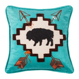 HiEnd Accents Large Bufflo Pillow with Embridery Details, 18x18