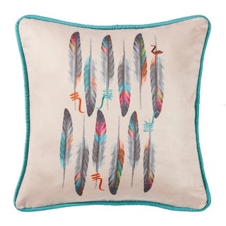 HiEnd Accents Feather Design Pillow with Embroidery Details, 18x18