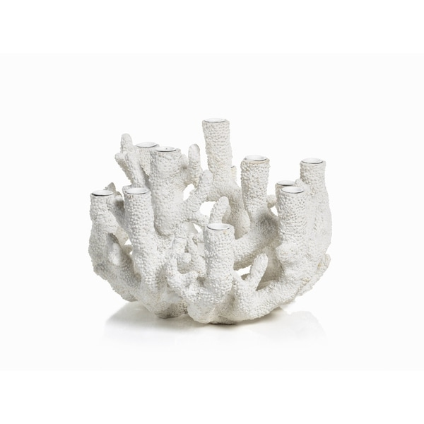 """12-Tier """"Cayo"""" Coral Polyresin Taper Candle Holder"""
