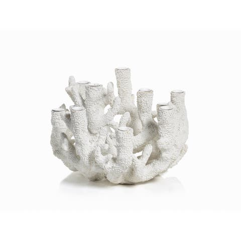 "12-Tier ""Cayo"" Coral Polyresin Taper Candle Holder"