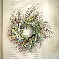 24 Inch Seagrass & Flower Wreath