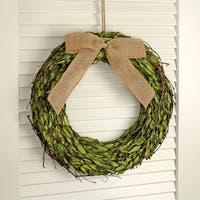16 Inch Wood Chip Boxwood Wreath W/ Bow