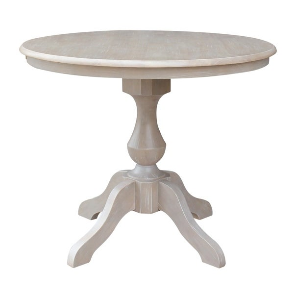 Shop 36 Quot X 36 Quot Solid Wood Round Pedestal Table In Washed Gray Taupe Washed Gray Taupe