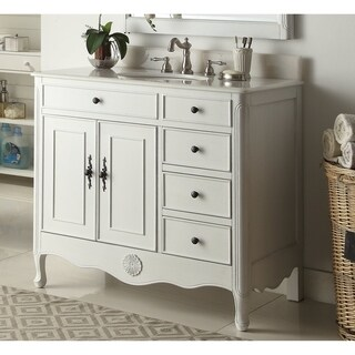 "38"" Benton Collection Fayetteville Antique White Bathroom Vanity & BS"