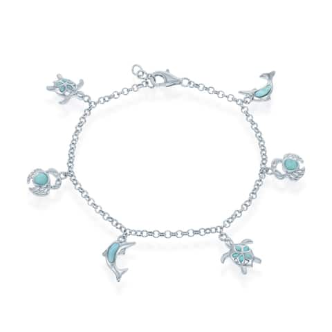 La Precioas Sterling Silver Natural Larimar Turtle, Crab, and Dolphin 7.5'' Bracelet