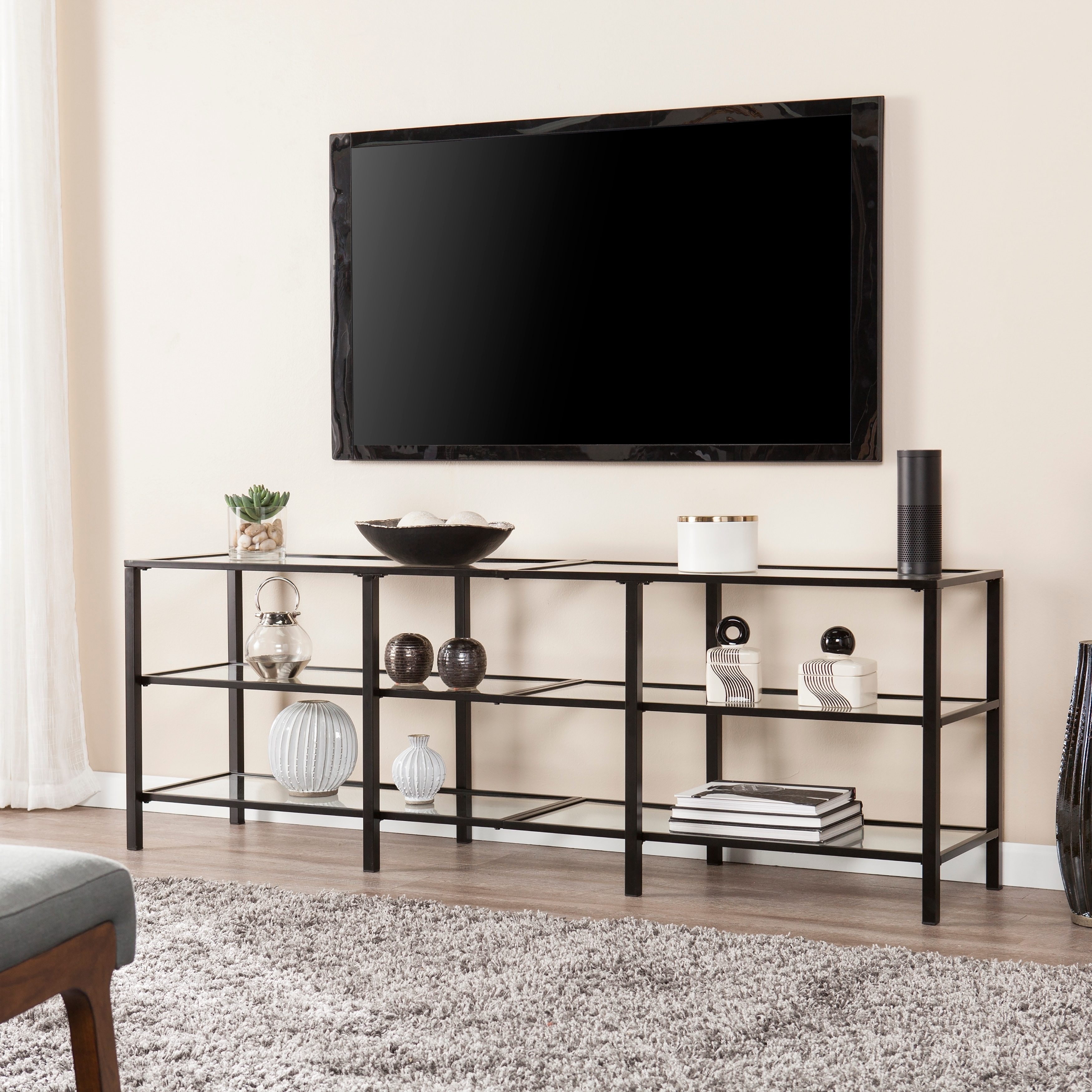 Shop Porch Den Liberty Black Metal And Glass Tv Stand On Sale