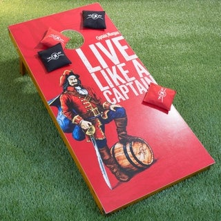 Captain Morgan Cornhole Outdoor Game Set, 2 Wooden Regulation Size Corn Hole Toss Boards with 8 Bean Bags for Adults - Red