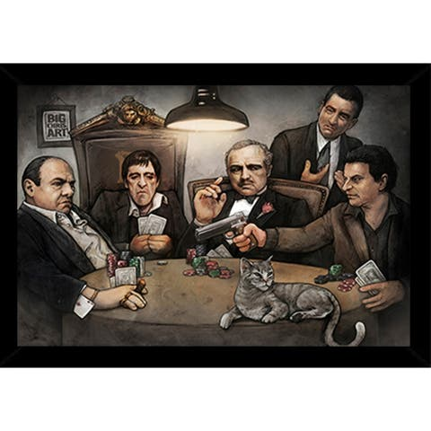 Gangsters Playing Poker Poster with Choice of Frame (24x34)