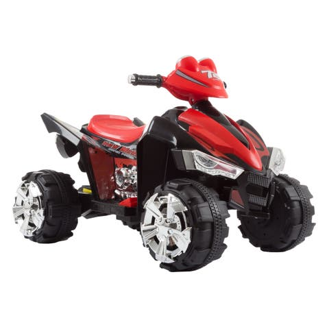 Battery Powered Ride On Toy ATV Four Wheeler With Sound Effects by Lil Rider (Black/Red)