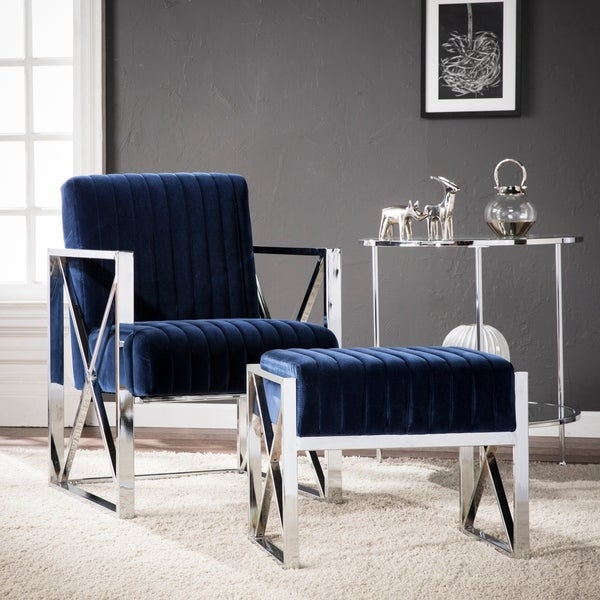 Silver Orchid Brent Blue Velveteen Armchair With Chrome by Silver Orchid