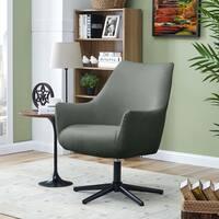 Handy Living Gunnison Blue Textured Weave Swivel Arm Chair