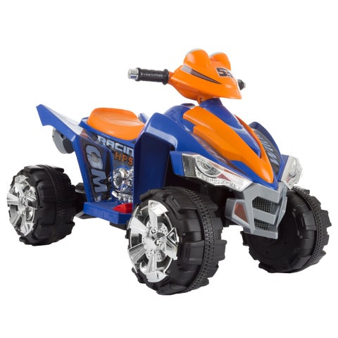 Battery Powered Ride On Toy ATV Four Wheeler With Sound Effects by Lil Rider (Blue/Orange)